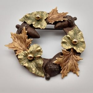 Copper Gold Green Brown Fall Leaves Acorns Brooch